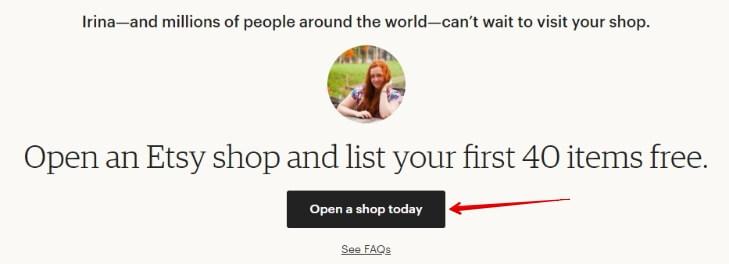 Открыть Etsy магазин