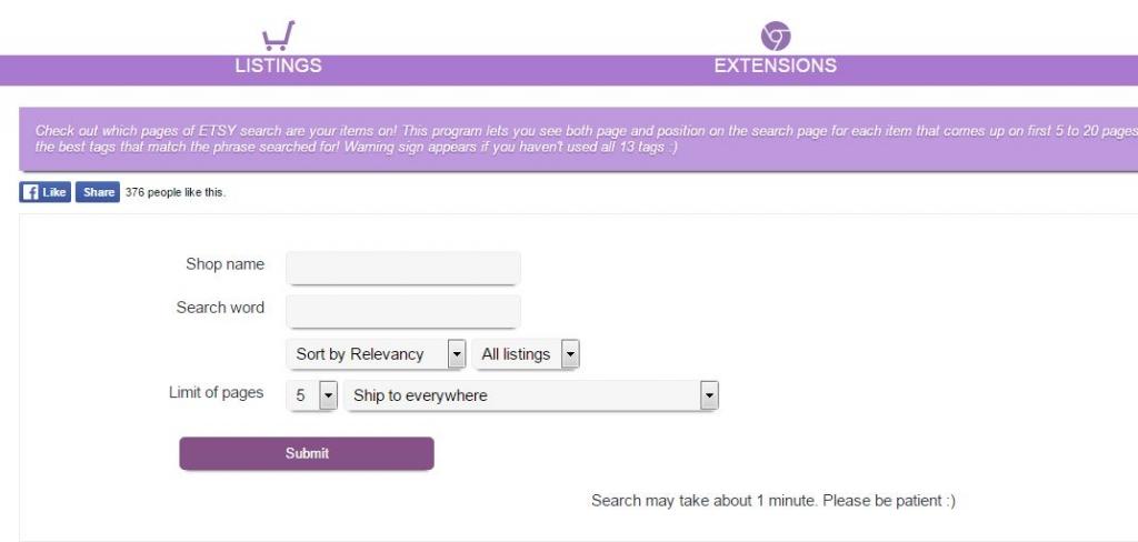 Поиск положения листинга в поисковой выдаче Etsy