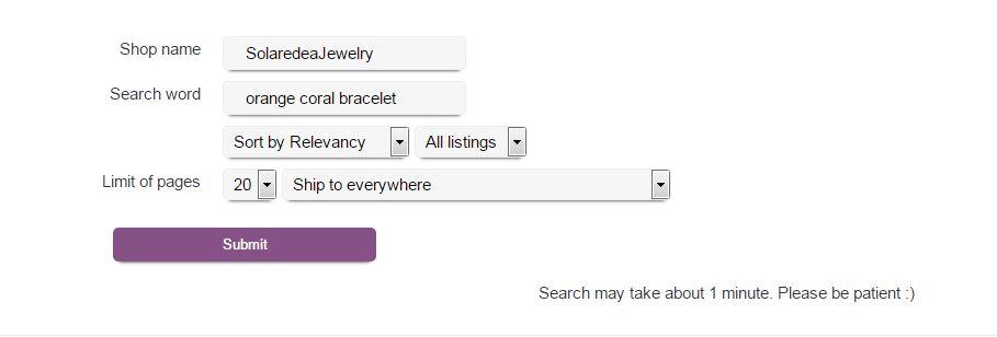 Образец заполнения поисковой формы на примере магазина SolaredeaJewelry Etsy