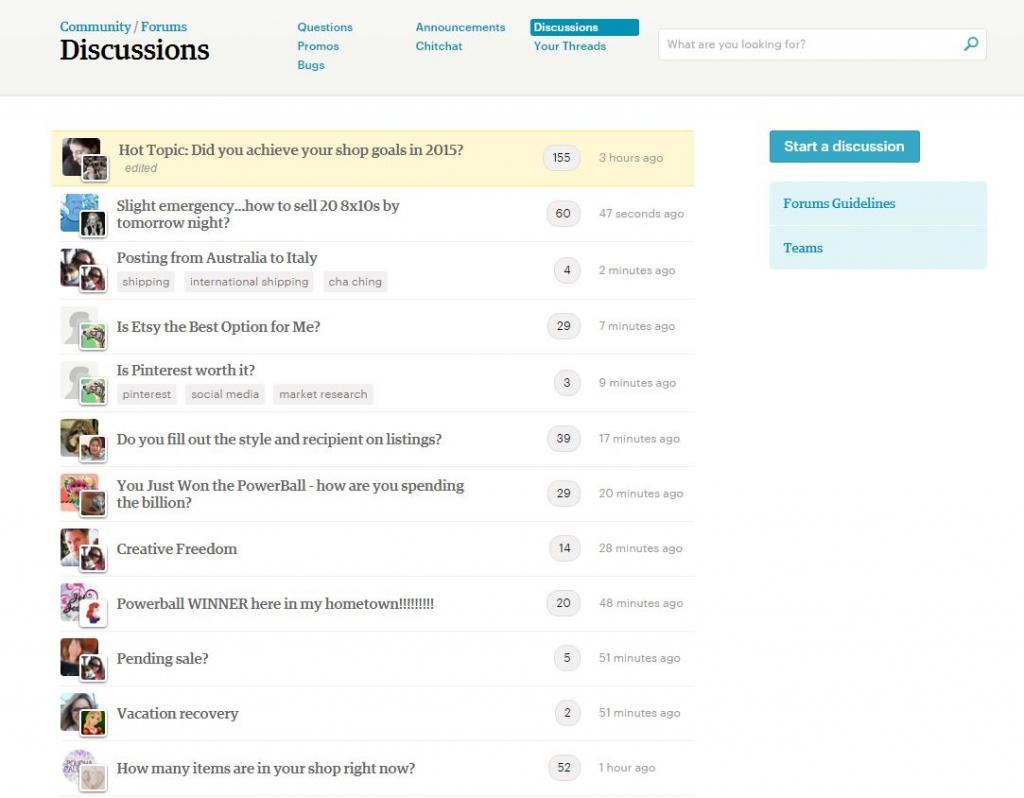 Раздел Обсуждения форум Etsy
