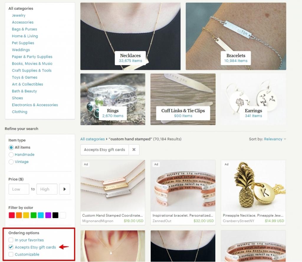 Как найти магазины, принимающие подарочные карты Etsy