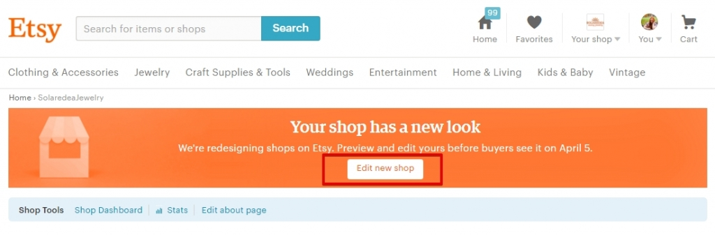 Как начать настраивать новый дизайн в магазине Etsy