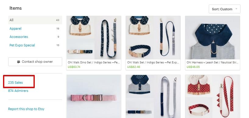 Отображение проданных товаров Etsy