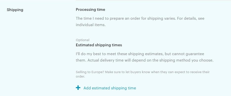 Shipping Etsy