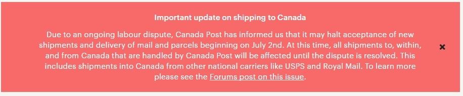 Проблемы с почтой Канады, 2 июля 2016 Etsy