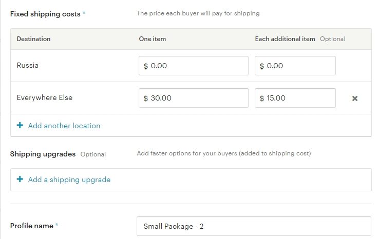 Стоимость доставки 30 долларов Etsy