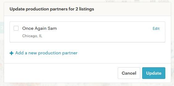 Etsy партнёры - выбор партнёра в Listing Manager