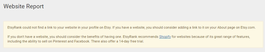 Website Report with EtsyRank