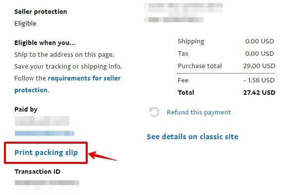 Paypal print packing slip
