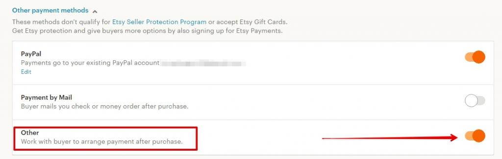 Как включить метод оплаты Other на Etsy