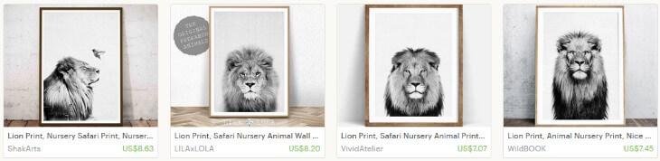 Картины со львами на Etsy
