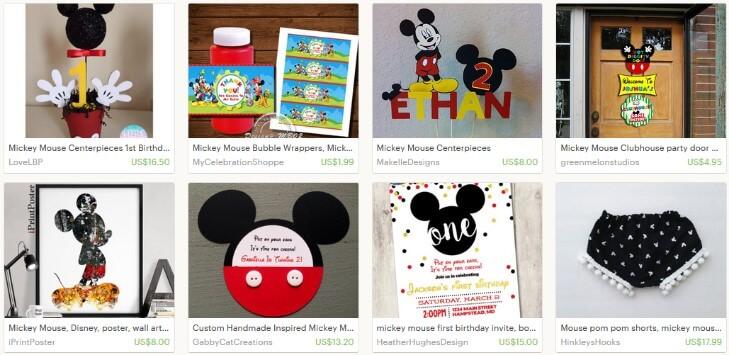 Результаты поиска на Etsy по запросу Mickey mouse