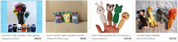 Вязаные игрушки напальчники на Etsy