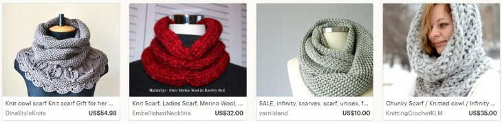 Как продавать вязанные шарфы на Etsy