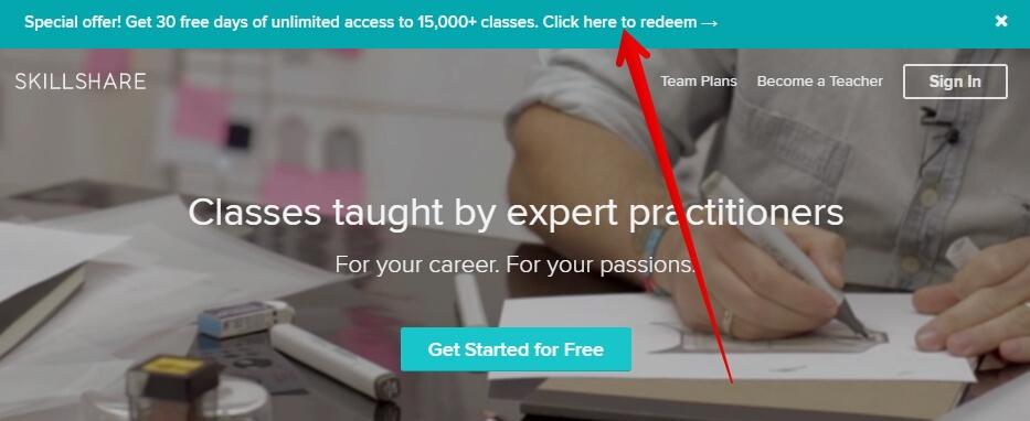 Skillshare как получить бесплатный доступ на 30 дней