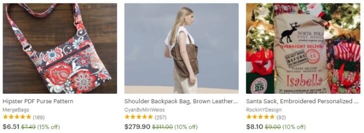 Распродажи сумок на Etsy