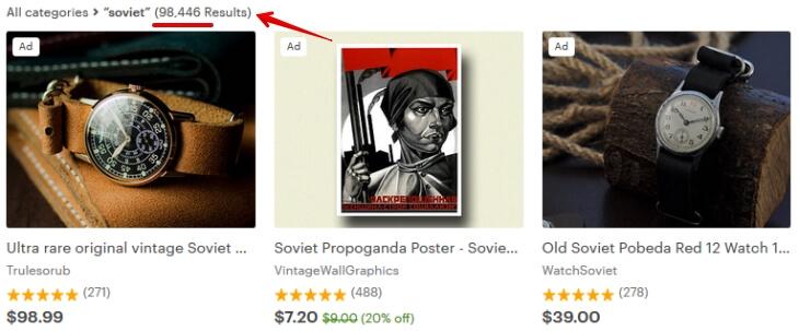 Советские вещи на Etsy