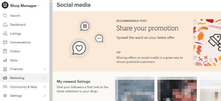 Etsy - Social media в браузере