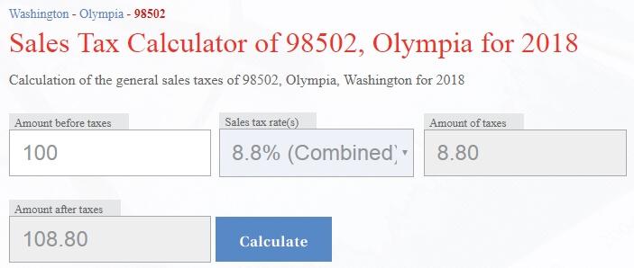 Калькулятор налога в Вашингтоне