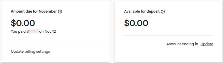 Payment account Etsy