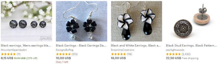 Earrings black поиск Etsy