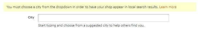 Удалить город магазина на Etsy