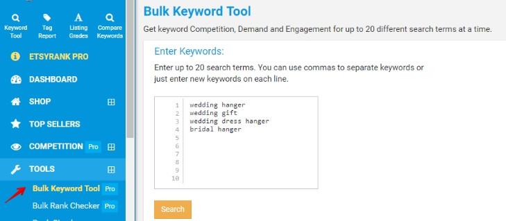 Bulk keyword tool на EtsyRank
