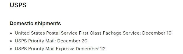 Крайние сроки отправки для USPS на Рождество