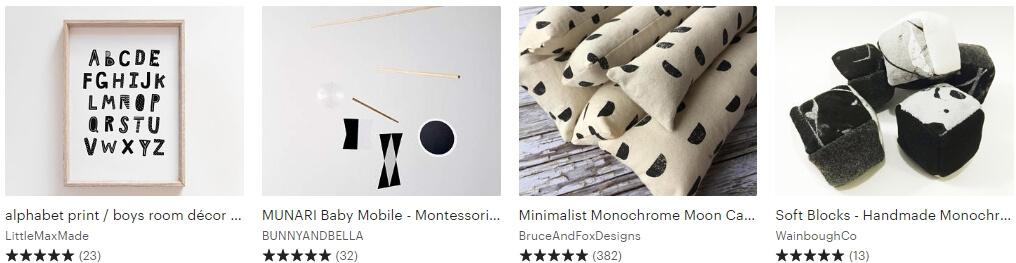 Monochrome toys Etsy