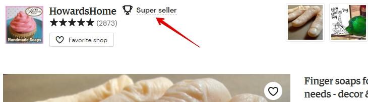 Значок Super seller над фотографиями