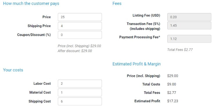 Etsy Fee and Profit Calculator - eRank