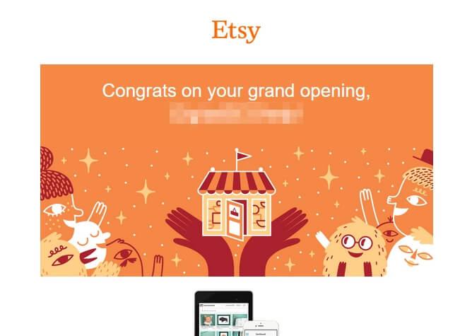 Поздравления с регистрацией Etsy-магазина