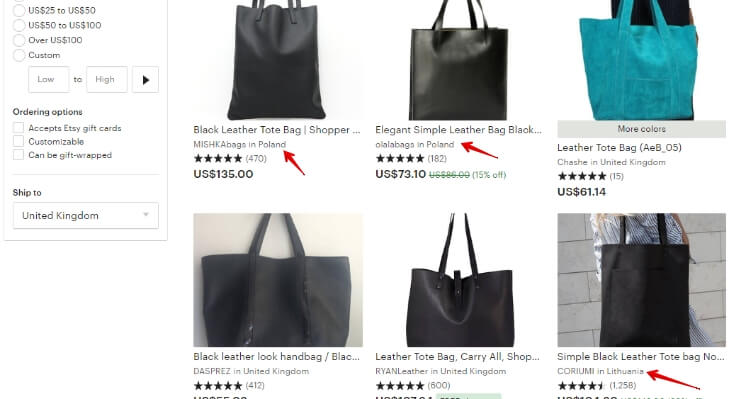 Black leather tote bag _ Etsy UK