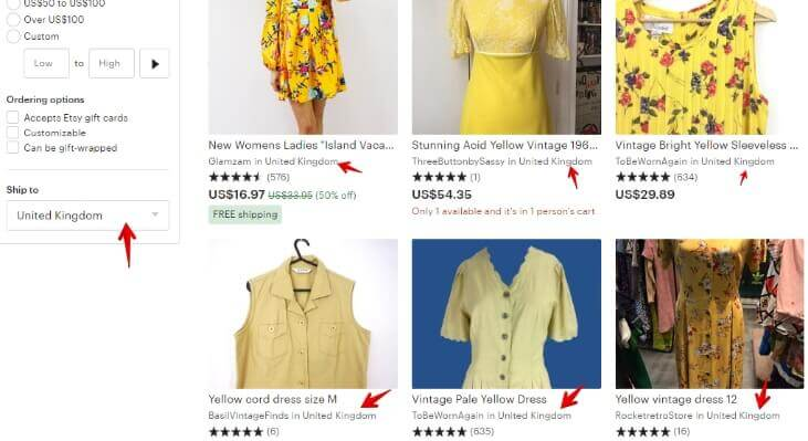 Yellow dress _ Etsy UK