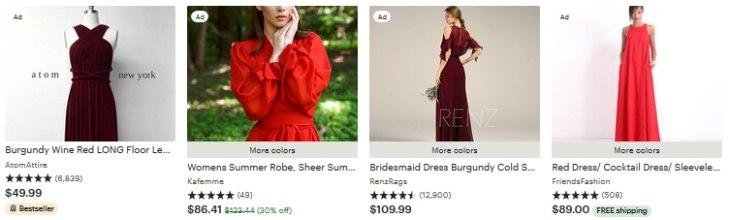 Long red dress Etsy - в рекламе нет приоритета товарам с бесплатной доставкой