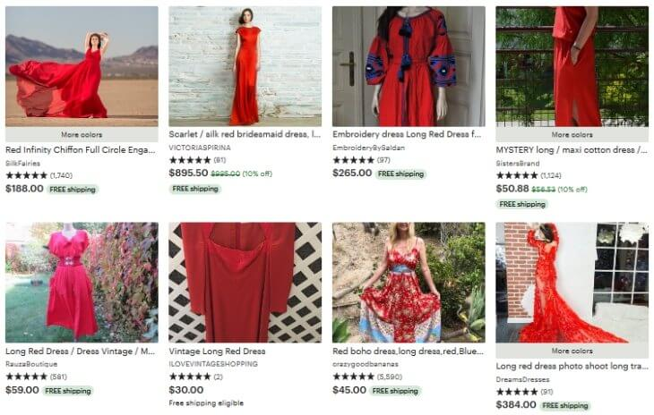 Long red dress _ Etsy