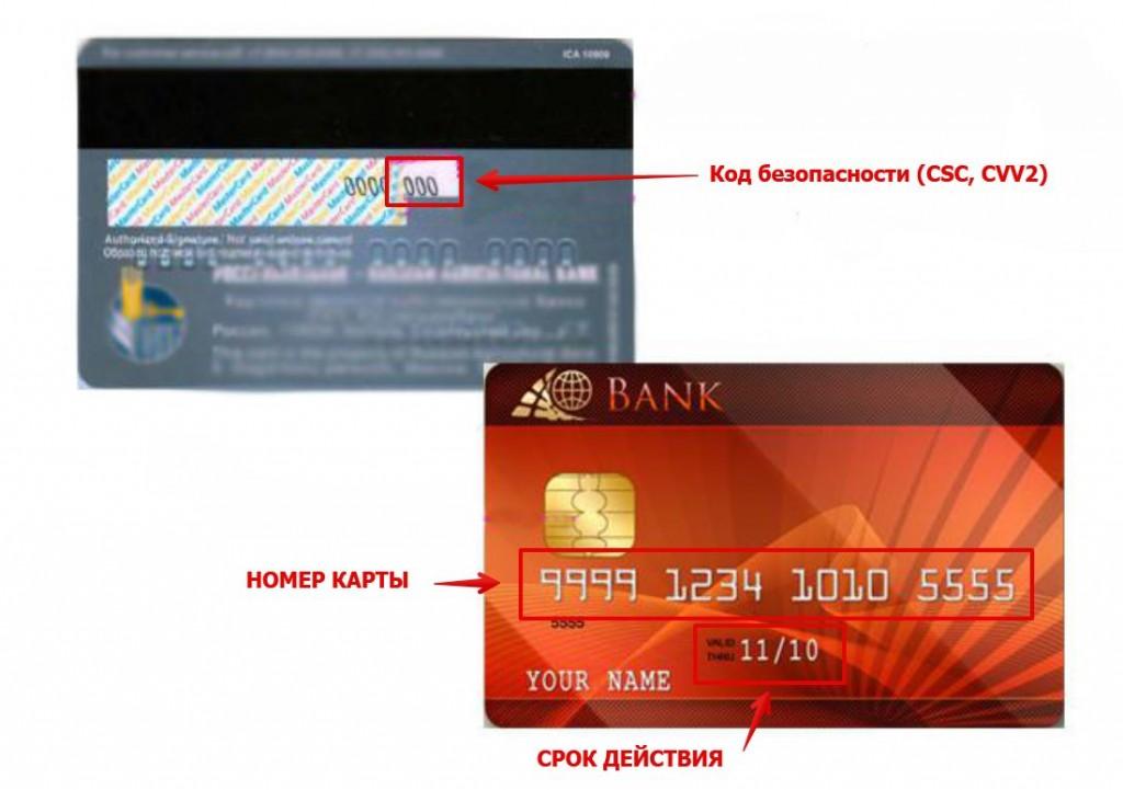 Образец банковской карты