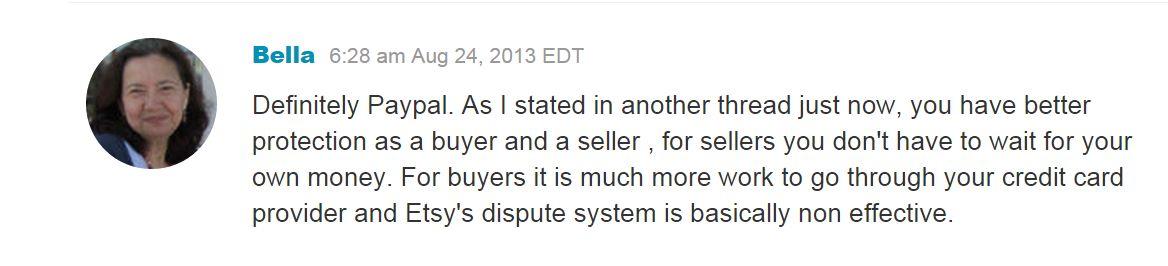 Отзыв продавца на Этси, который выделяет Пайпал среди других способов оплаты