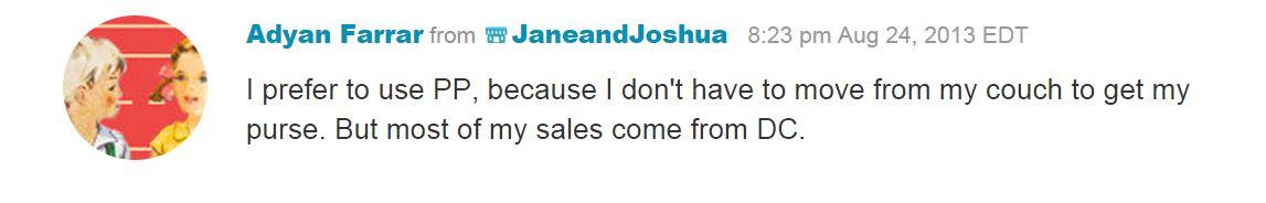 Отзыв продавца на Этси, которые доказывают, что PayPal предпочтителен