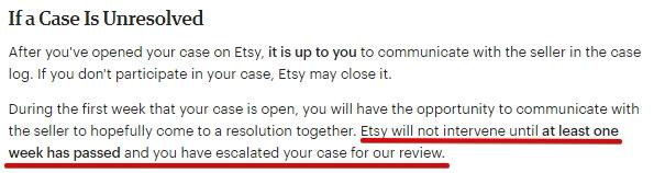 В каком случае покупатель может пожаловать администраторам Этси