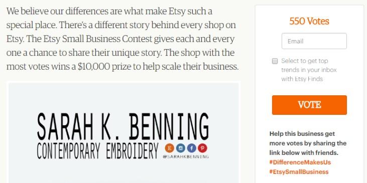 Etsy конкурс small business contest