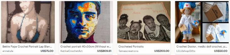 Портреты вязаные продавать на этси