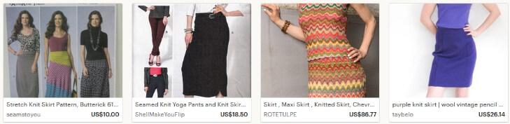 Вязаные юбки на Etsy