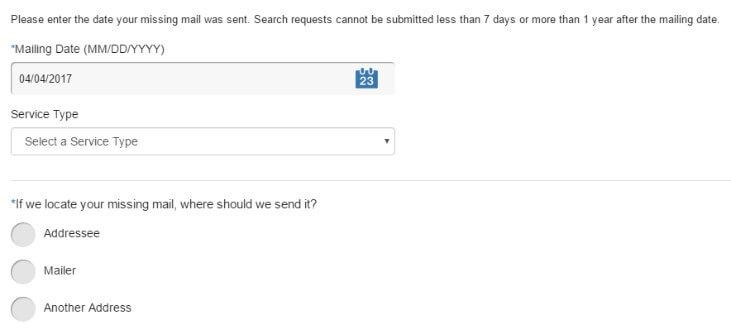 USPS заполняем форму на розыск посылки