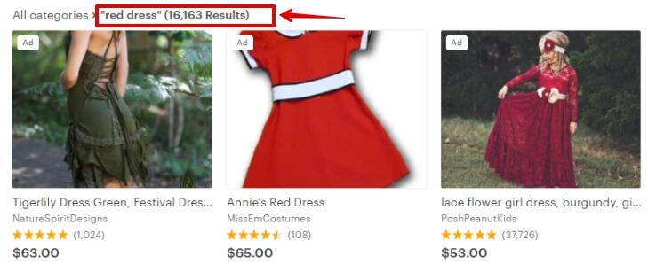 Запрос red dress число конкурентов на Etsy
