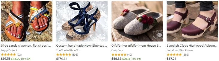 Пример обуви, которая сделана своими руками и которая продаётся на Etsy