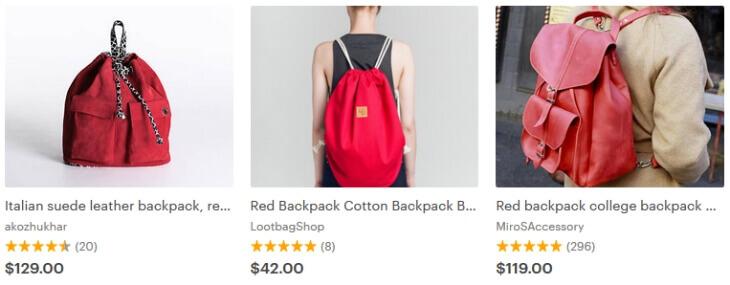 Красный рюкзак Этси - фотографии