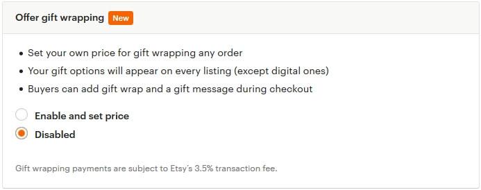 Как включить gift wrap на Etsy