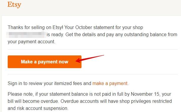 Etsy письмо о том, что нужно оплатить комиссии