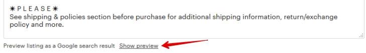 Предпросмотр Etsy листинга в поиске Google